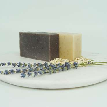 organic lavender and shea honey oat bar soap set